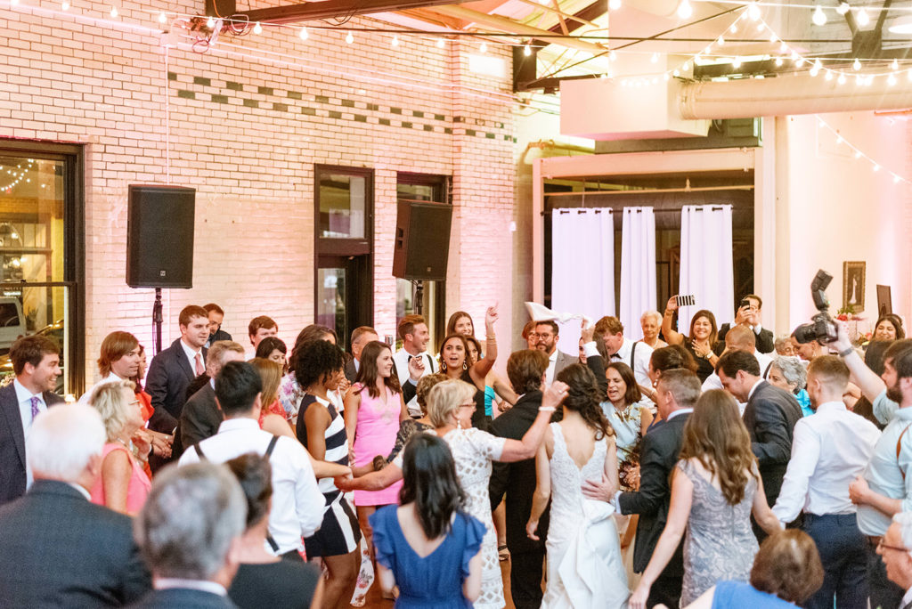 Liz + Trey Wedding at Market Hall Raleigh Uplighting All Around Raleigh DJ